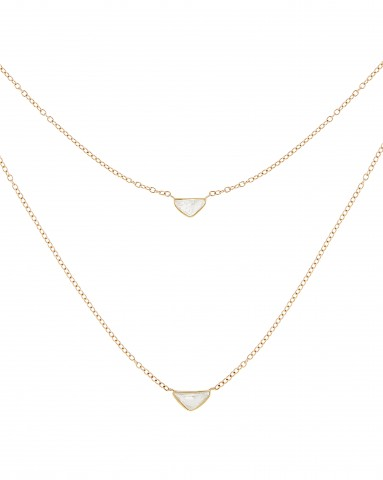 Pink Collection - Rough Cut Diamond Necklace Close