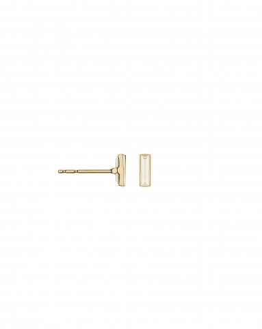 SC Pink Collection - 18K Pink Gold Earrings with Baby Diamond Baguettes