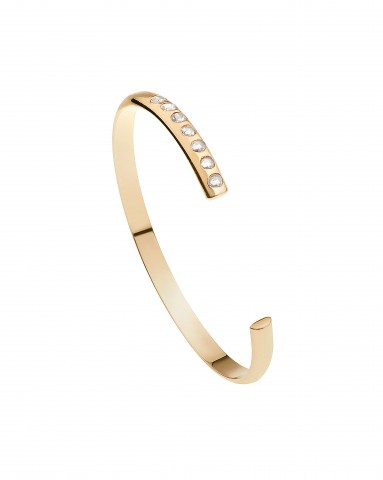 SC Pink Collection - 18K Pink Gold Half Round Cuff with Rose Cut Diamonds
